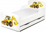 Bed for children Mr. Excavator 140x70 with mattress and drawer